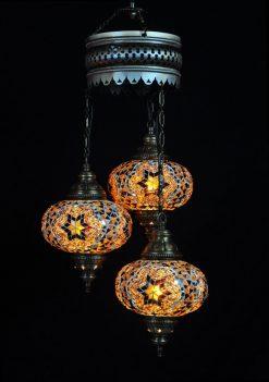 Turkse kroonluchter bruin 3 bollen - Turkse lampen Online