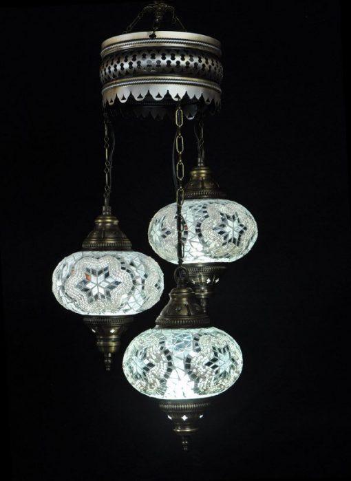 Turkse kroonluchter wit 3 bollen - Turkse lampen Online
