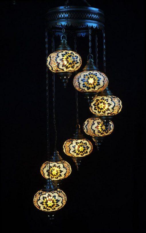Oosterse lamp bruin 7 bollen – Oosterse lampen online