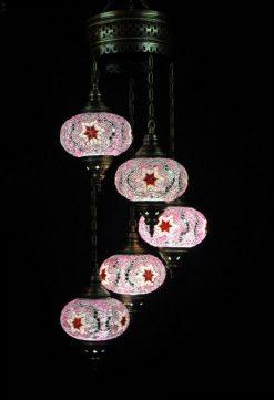 Oosterse lamp roze 5 bollen - Oosterse lampen