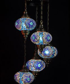 Oosterse mozaïek lamp blauw 5 bollen - Oosterse lampen
