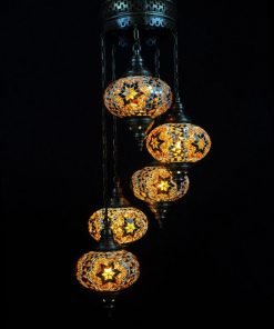 Oosterse mozaïek lamp bruin 5 bollen - Oosterse lampen