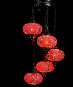 Oosterse mozaïek lamp rood 5 bollen - Oosterse lampen