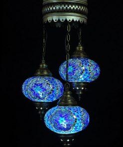 Turkse kroonluchter blauw 3 bollen - Turkse lampen