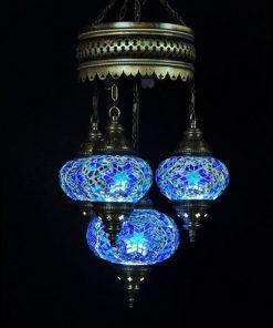 Turkse kroonluchter blauw 4 bollen - Turkse Lampen Online