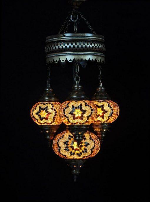 Turkse kroonluchter bruin 4 bollen - Turkse Lampen Online
