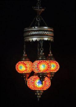 Turkse kroonluchter multicolour 4 bollen - Turkse Lampen Online