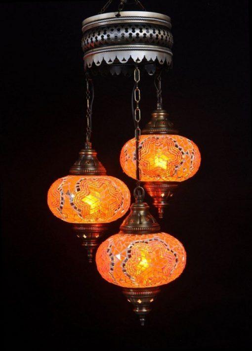 Turkse kroonluchter oranje 3 bollen - Turkse lampen