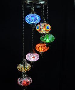 Oosterse lamp mozaïek all colours 7 bollen - Oosterse lampen online