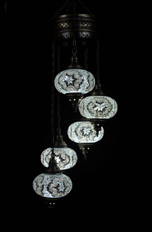 Oosterse mozaïek lamp wit 5 bollen - Oosterse lampen