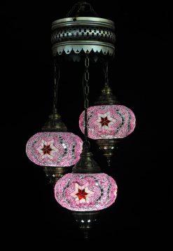 Turkse kroonluchter mozaïek roze 3 bollen