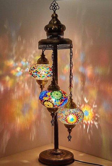 Mozaïek vloerlamp 3 bollen - Turkse Lampen Online