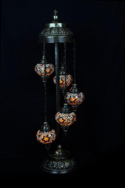 Mozaïek vloerlamp 5 bollen bruin - Turkse Lampen Online