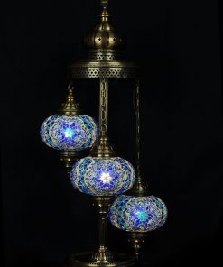 Turkse vloerlamp 3 bollen mozaïek blauw - Turkse Lampen Online