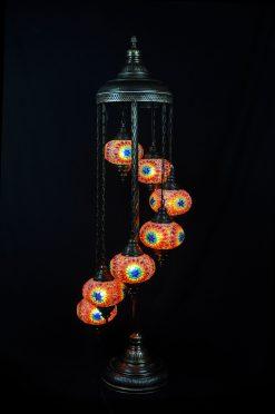 Turkse vloerlamp 7 bollen multicolour - Turkse Lampen Online