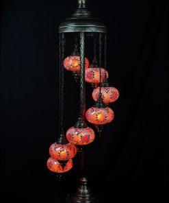 Turkse vloerlamp 7 bollen oranje - Turkse Lampen Online