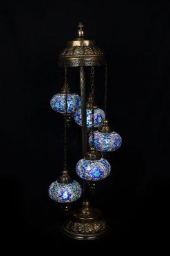 Turkse vloerlamp blauw 5 bollen - Turkse Lampen Online