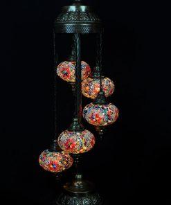 Turkse vloerlamp multicolour 5 bollen - Turkse Lampen Online