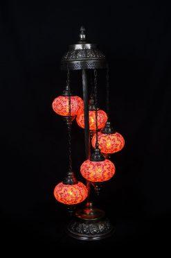 Turkse vloerlamp oranje 5 bollen - Turkse Lampen Online