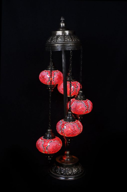 Turkse vloerlamp rood 5 bollen - Turkse Lampen Online
