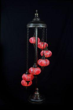 Turkse vloerlamp rood 7 bollen - Turkse Lampen Online
