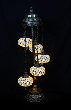 Turkse vloerlamp wit 5 bollen - Turkse Lampen Online