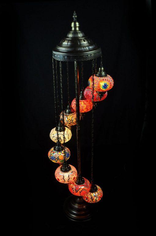 Vloerlamp 9 bollen multicolour - Turkse Lampen Online