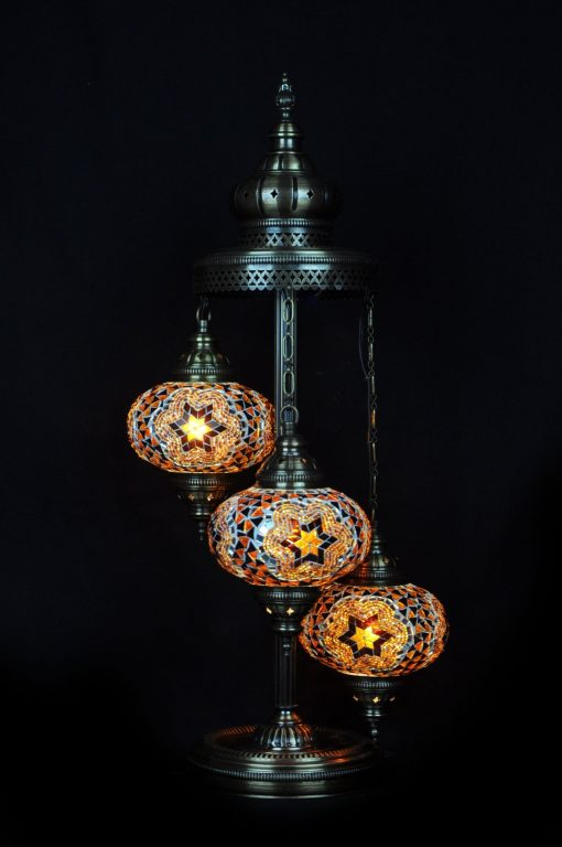 Turkse vloerlamp 3 bollen bruin - Turkse Lampen Online