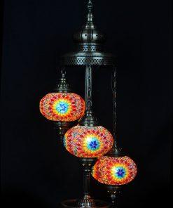 Turkse vloerlamp 3 bollen mozaïek multicolour - Turkse Lampen Online