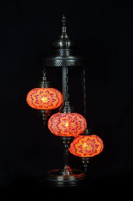 Turkse vloerlamp 3 bollen mozaïek oranje - Turkse Lampen Online