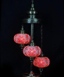 Turkse vloerlamp 3 bollen mozaïek rood - Turkse Lampen Online