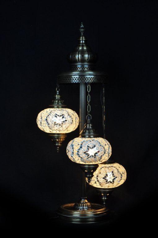Turkse vloerlamp 3 bollen mozaïek wit - Turkse Lampen Online