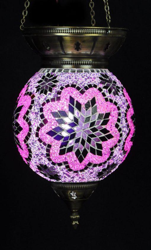 Turkse hanglamp 25 cm paars-roze - Turkse Lampen Online