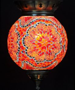 Turkse hanglamp 25 cm rood-oranje - Turkse Lampen Online