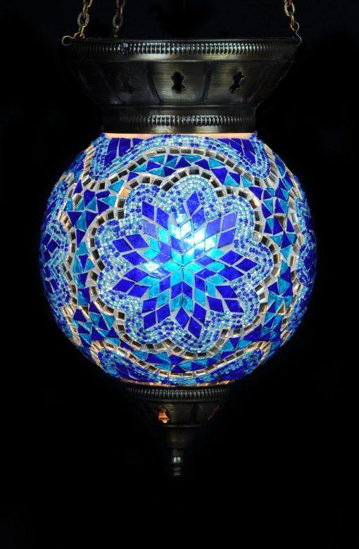 Turkse hanglamp blauw - Turkse Lampen Online