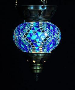 Turkse hanglamp blauw klein - Turkse Lampen Online