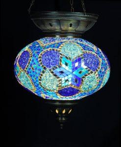 Turkse hanglamp blauw ovaal - Turkse Lampen Online