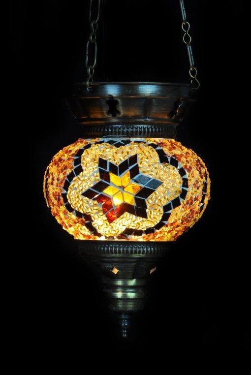 Turkse hanglamp bruin diameter 13 cm - Turkse Lampen Online