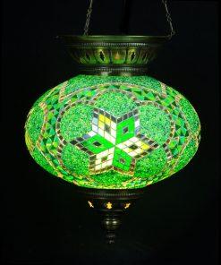 Turkse hanglamp groen ovaal - Turkse Lampen Online