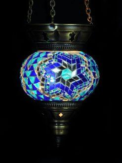 Turkse hanglamp klein blauw - Turkse Lampen Online