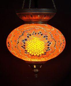 Turkse hanglamp oranje ovaal 25 cm - Turkse Lampen Online