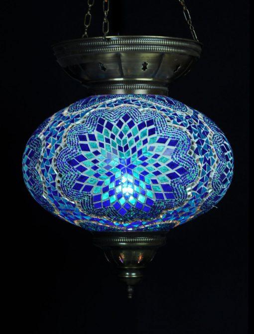 Turkse hanglamp ovaal blauw - Turkse Lampen Online