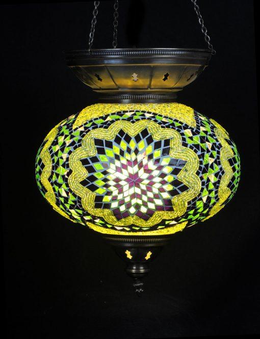 Turkse hanglamp ovaal groen - Turkse Lampen Online