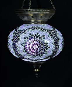 Turkse hanglamp paars circa 25 cm ovaal - Turkse Lampen Online