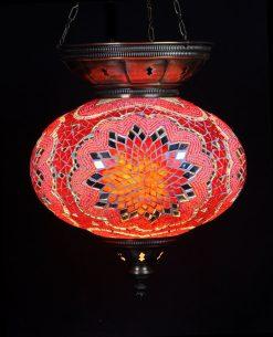 Turkse hanglamp rood circa 25 cm ovaal 2 - Turkse Lampen Online