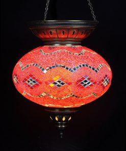 Turkse hanglamp rood circa 25 cm ovaal - Turkse Lampen Online