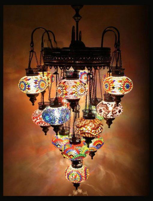 Turkse kroonluchter mozaïek multicolour 16 bollen - Turkse Lampen Online