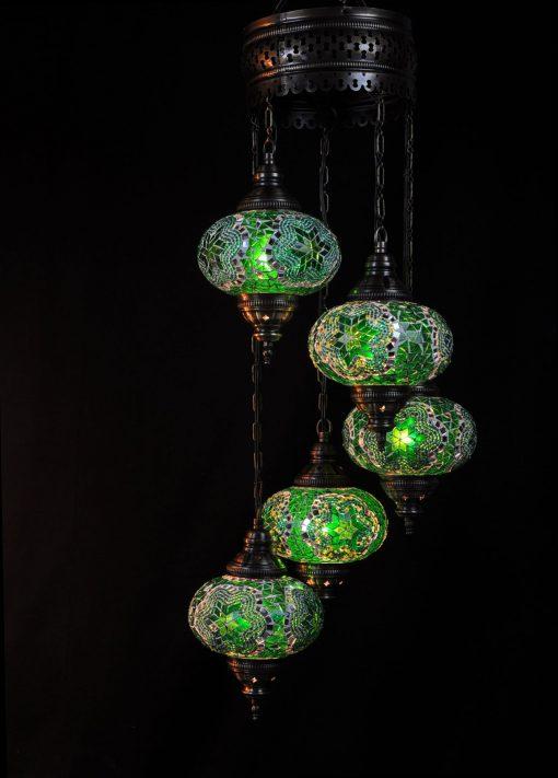 Oosterse mozaïek lamp groen 5 bollen - Turkse Lampen Online