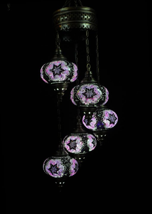 Oosterse mozaïek lamp paars 5 bollen - Turkse Lampen Online