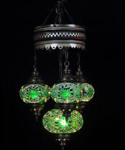 Turkse kroonluchter mozaïek groen 4 bollen - Turkse Lampen Online